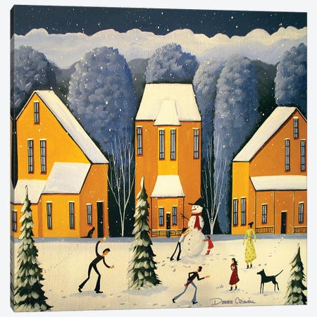 Snow Is Falling Friends Are Calling Canvas Print #DEC167} by Debbie Criswell Canvas Art Print