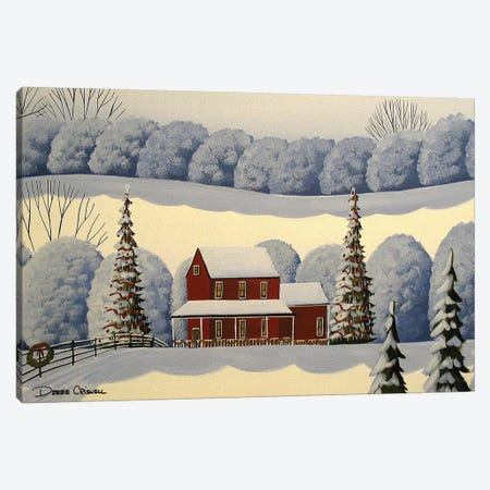 The Christmas House 3-Piece Canvas #DEC170} by Debbie Criswell Art Print