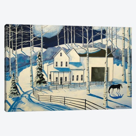 Winter Farm Canvas Print #DEC179} by Debbie Criswell Canvas Print