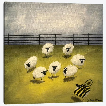 Bumble Sheep Canvas Print #DEC17} by Debbie Criswell Canvas Wall Art