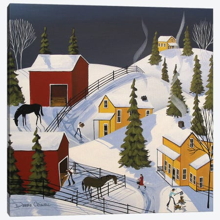 Wintertime Chores Canvas Print #DEC182} by Debbie Criswell Canvas Wall Art