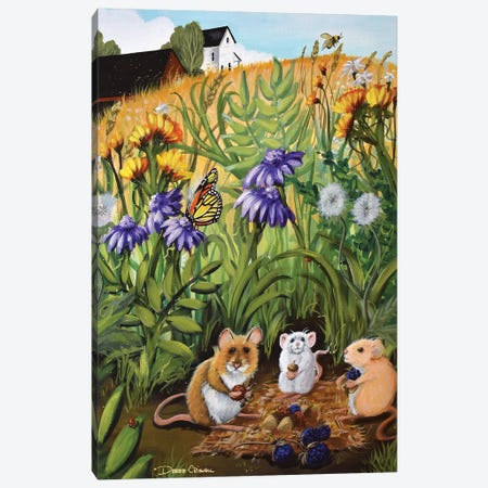 Picnic Mice Canvas Print #DEC187} by Debbie Criswell Canvas Print