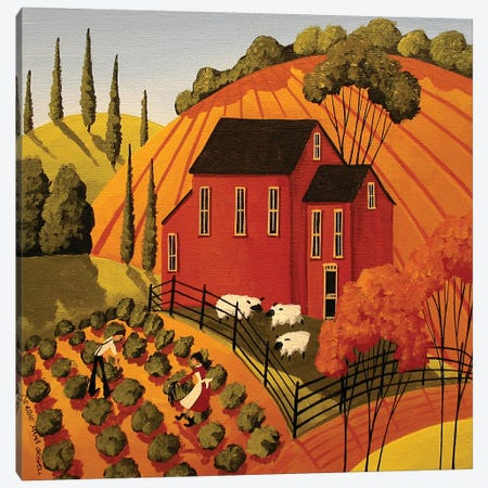 Harvesting The Greens Canvas Print #DEC44} by Debbie Criswell Canvas Print
