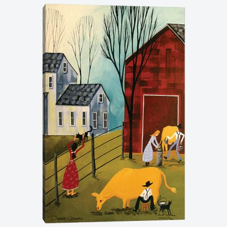 Milking The Cows Canvas Print #DEC63} by Debbie Criswell Canvas Wall Art