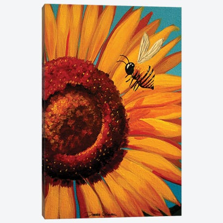Sunflower Bee Canvas Print #DEC95} by Debbie Criswell Canvas Wall Art