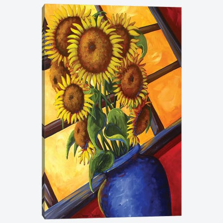 Sunflowers Blue Vase Canvas Print #DEC96} by Debbie Criswell Canvas Wall Art