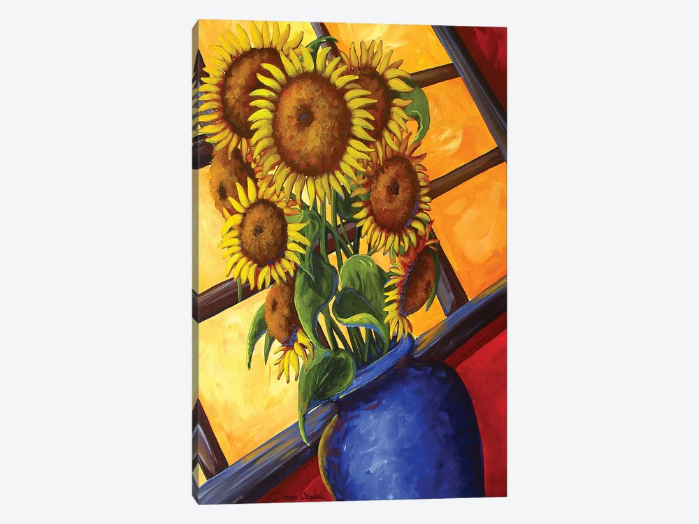 Sunflowers Blue Vase by Debbie Criswell 1-piece Canvas Wall Art