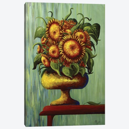 Sunflowers In Green Canvas Print #DEC97} by Debbie Criswell Canvas Wall Art