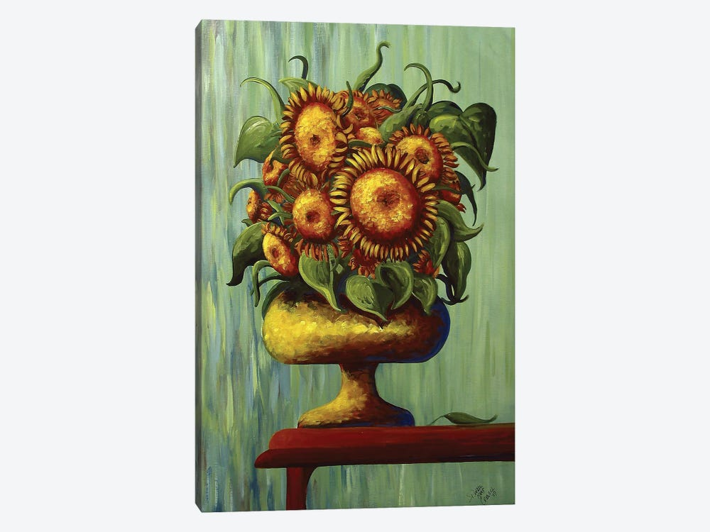 Sunflowers In Green by Debbie Criswell 1-piece Art Print