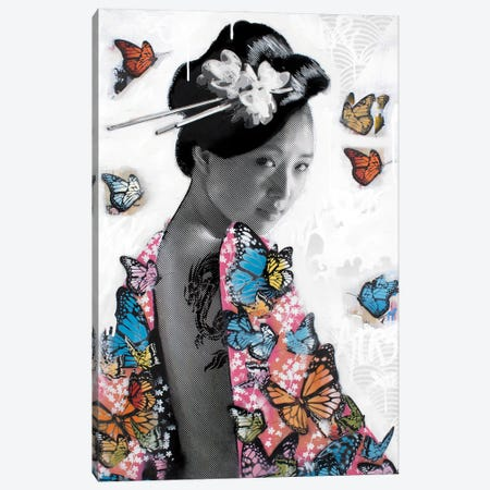 Lady O' Butterflies Canvas Print #DEG40} by D13EGO Canvas Wall Art