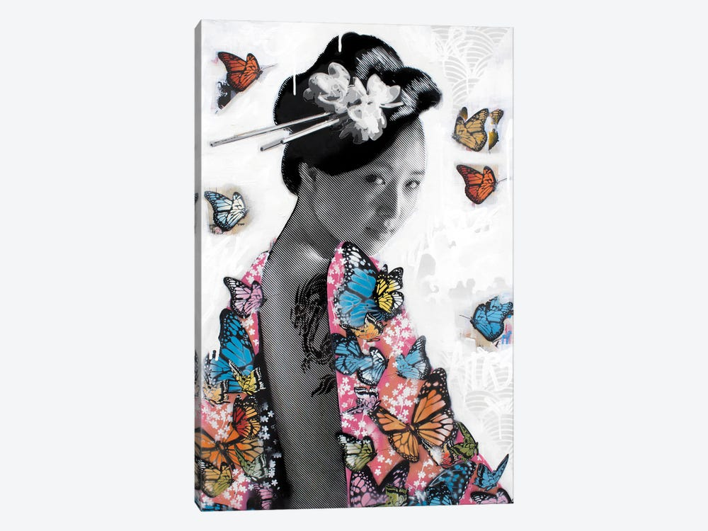 Lady O' Butterflies by D13EGO 1-piece Canvas Artwork