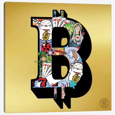 Lucky Bitcoin Canvas Print #DEG49} by D13EGO Canvas Art
