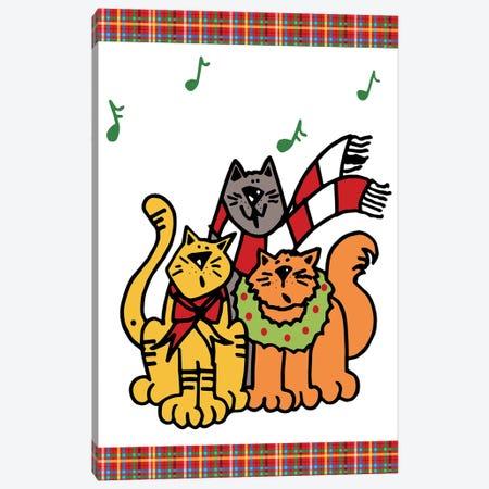 Christmas Cat Jingles On Plaid Canvas Print #DEI7} by Deidre Mosher Canvas Print