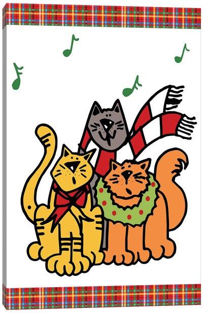 Christmas Cat Jingles On Plaid Canvas Art Print