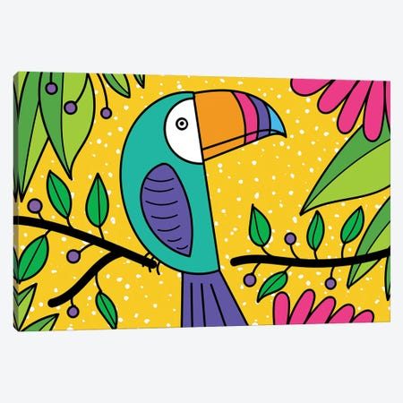 Brightly Colored Toucan Canvas Print #DEI9} by Deidre Mosher Canvas Wall Art