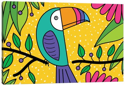 Brightly Colored Toucan Canvas Art Print