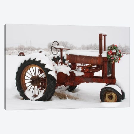 Christmas Tractor Canvas Print #DEL211} by Danita Delimont Canvas Artwork