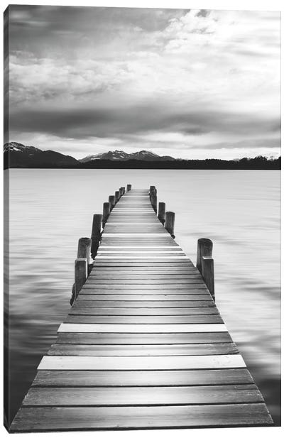 Jetty Black & White Canvas Art Print