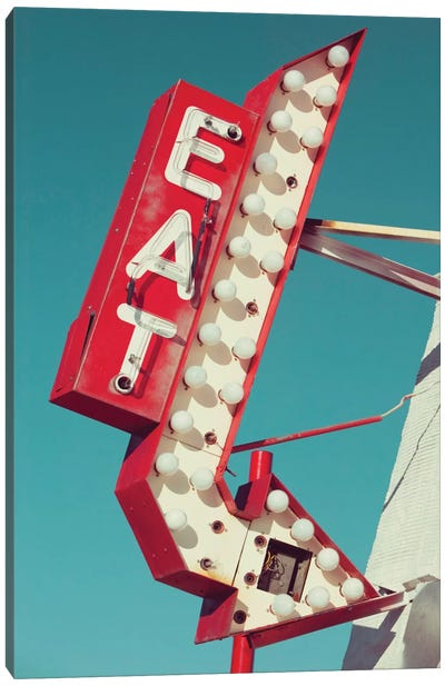 Retro Eat Sign Canvas Art Print