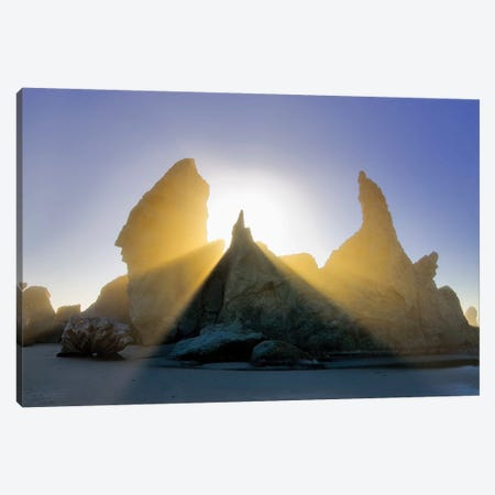 Fog Sunburst Canvas Print #DEN128} by Dennis Frates Art Print