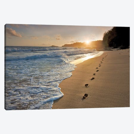 Footprints On The Sand Canvas Print #DEN129} by Dennis Frates Canvas Art Print