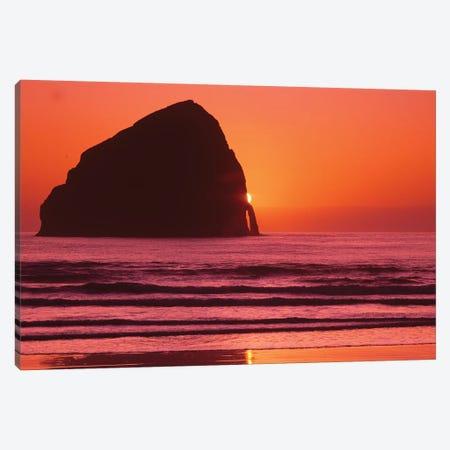 Haystack Sunset Canvas Print #DEN154} by Dennis Frates Art Print