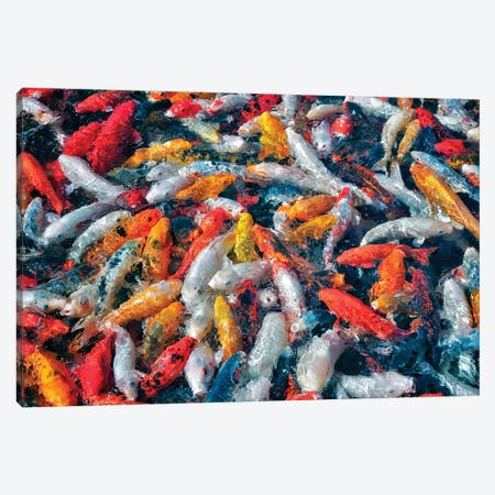 Koi Party Canvas Print #DEN167} by Dennis Frates Canvas Artwork