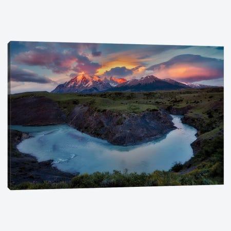 Rio Paine River Sunrise Canvas Print #DEN276} by Dennis Frates Canvas Art