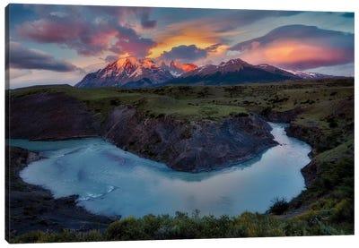 Rio Paine River Sunrise Canvas Art Print