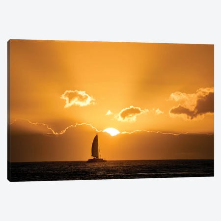 Sailboat Sunset I Canvas Print #DEN289} by Dennis Frates Canvas Artwork