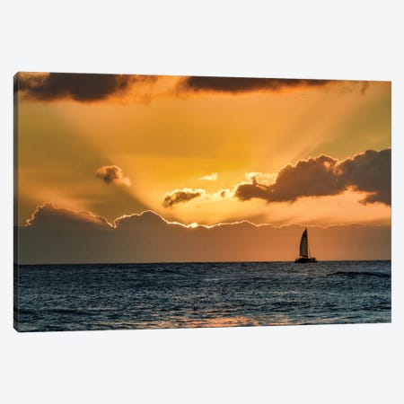 Sailboat Sunset II Canvas Print #DEN290} by Dennis Frates Canvas Print