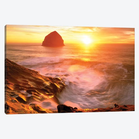 Seastack Sunrise Canvas Print #DEN303} by Dennis Frates Art Print