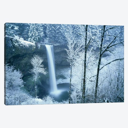 Silver Falls Winter Canvas Print #DEN310} by Dennis Frates Canvas Wall Art