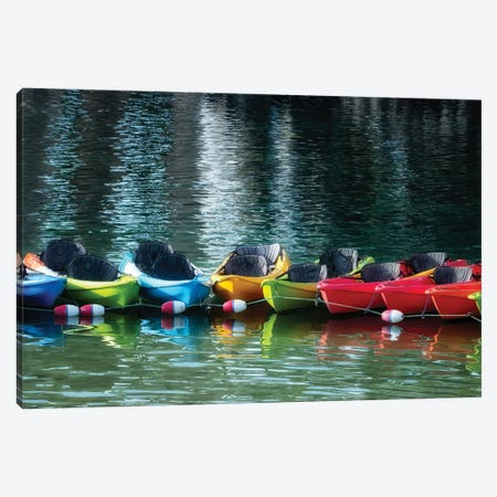 Canoe Lineup Canvas Print #DEN625} by Dennis Frates Canvas Print