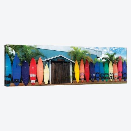Surfboard Pano Canvas Print #DEN638} by Dennis Frates Art Print