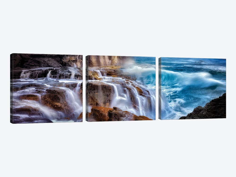 Wave Waterfall by Dennis Frates 3-piece Canvas Wall Art