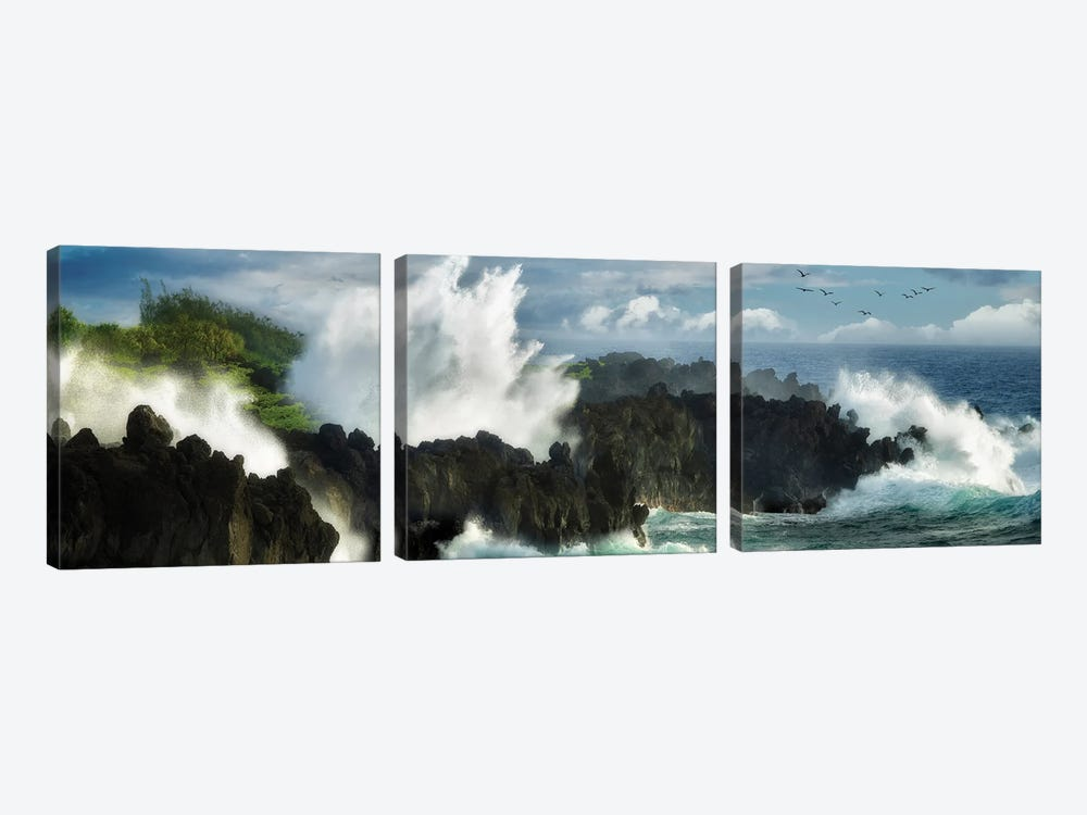 Oceans Fury by Dennis Frates 3-piece Canvas Wall Art