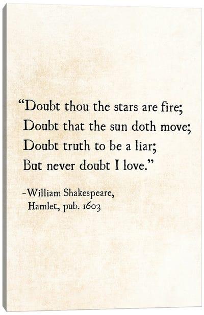 Stars, William Shakespeare Canvas Art Print