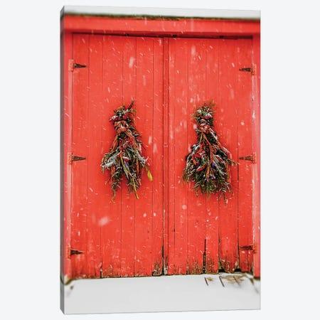 Red Winter Doors Canvas Print #DEO65} by Debbra Obertanec Art Print