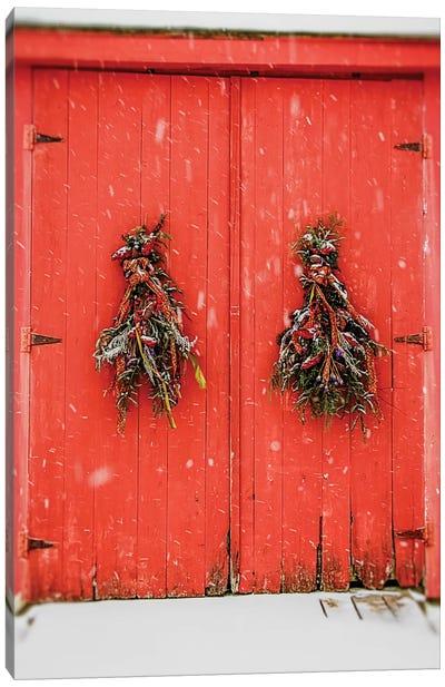 Red Winter Doors Canvas Art Print