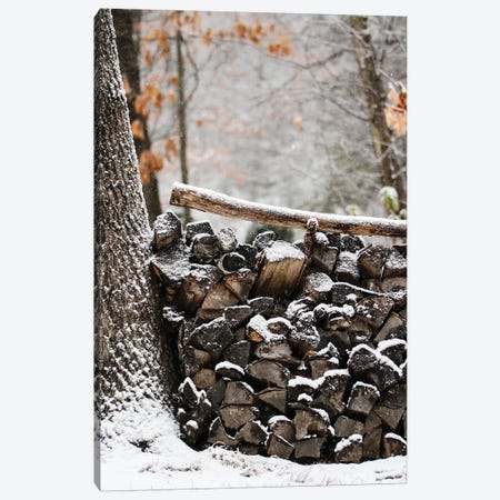 Snowy Wood Pile Canvas Print #DEO76} by Debbra Obertanec Canvas Artwork