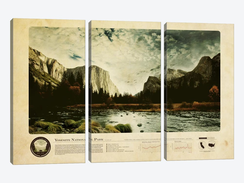 Yosemite National Park by 2046 Design 3-piece Art Print