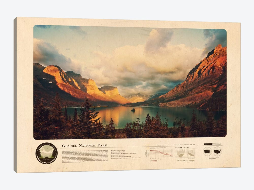 Glacier National Park by 2046 Design 1-piece Canvas Print