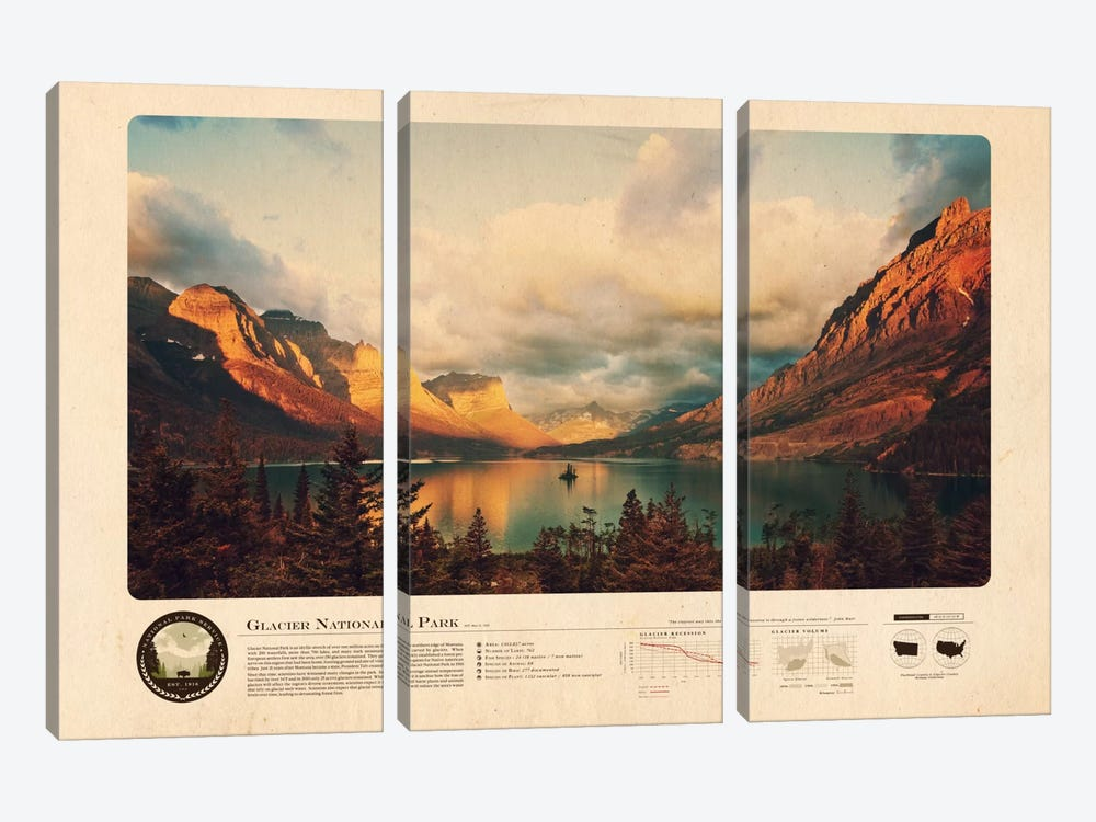 Glacier National Park by 2046 Design 3-piece Art Print