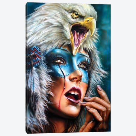 Eagle Spirit Hood Canvas Print #DET18} by Derek Turcotte Canvas Artwork