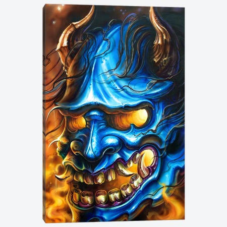 Hannya Mask Canvas Print #DET27} by Derek Turcotte Canvas Art