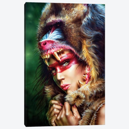 Huntress Mandrill Canvas Print #DET28} by Derek Turcotte Art Print