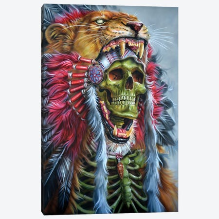 Lion Warrior Canvas Print #DET33} by Derek Turcotte Canvas Wall Art