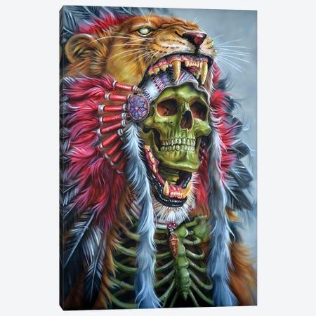 Lion Warrior Canvas Print #DET33} by Derek Turcotte Canvas Wall Art