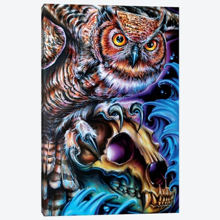 Owl And Bear Skull Canvas Print #DET39} by Derek Turcotte Canvas Wall Art
